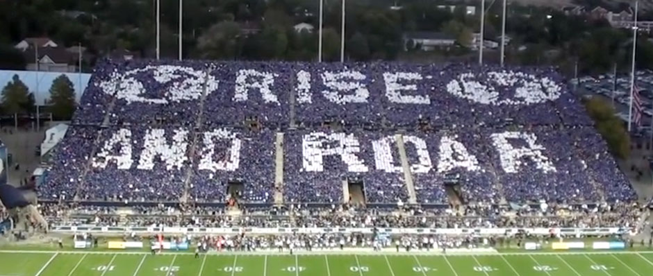 BYU vs Houston Stadium Card Stunt